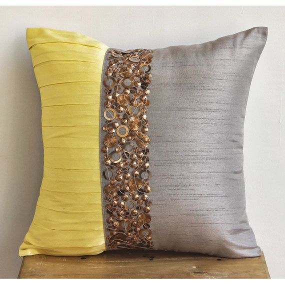 decorative throw pillow covers accent pillow couch pillow 18x18 inches silk pillow cover metal embroidery yellow