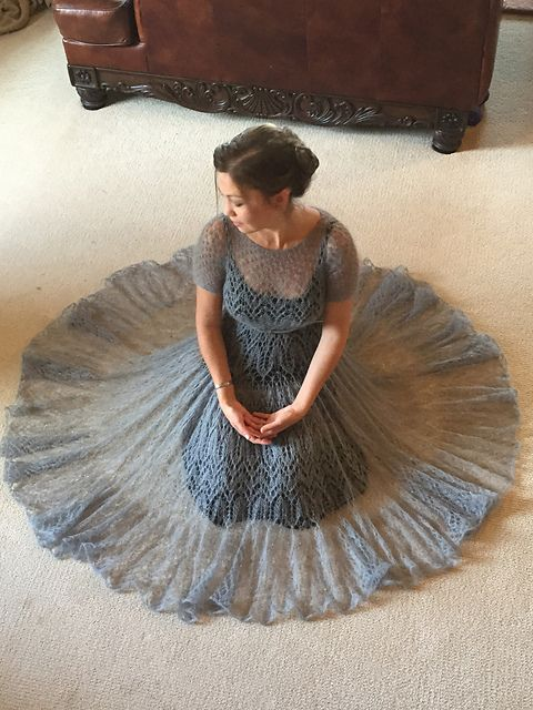 Silk / mohair lace dress, hand knitted