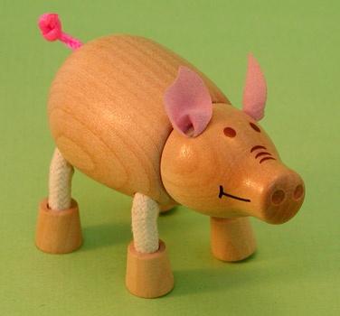 Wooden Piggy Figurine
