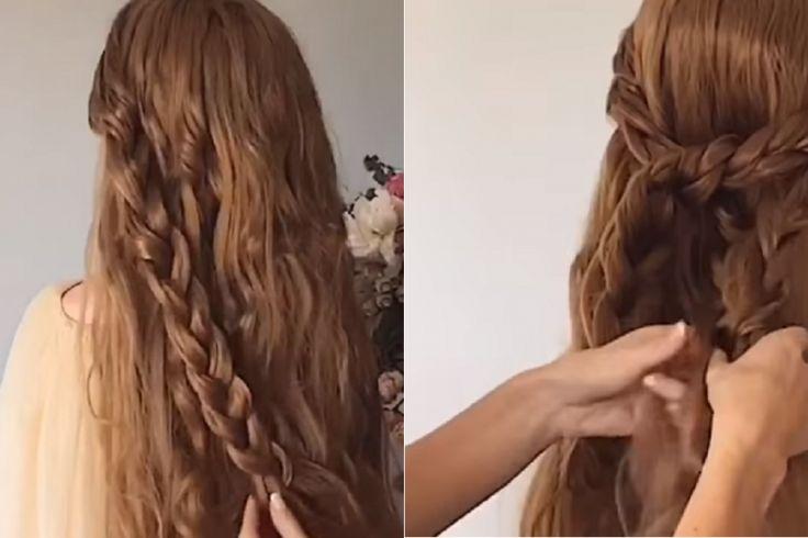 En faisant de grosses tresses, elle réalise une superbe coiffure! Le résultat est magnifique!