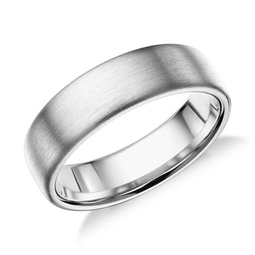 Modern in appeal this brushed 14k white gold wedding band features a rounded interior for everyday comfort.
