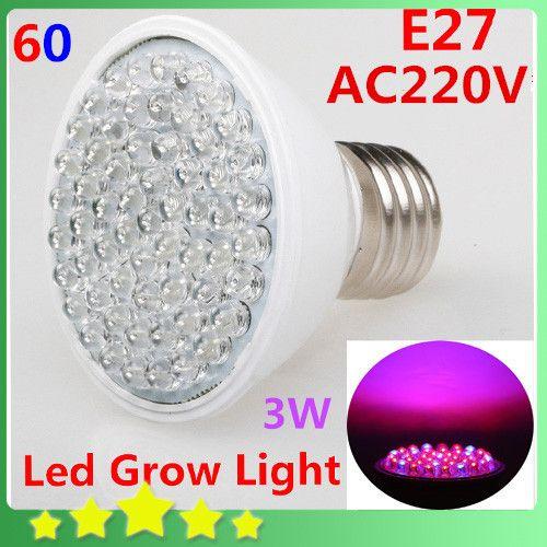 E27 60LED 3 W Plant Grow Light Bulb Garden lámpara hidropónica AC220V envío gratis