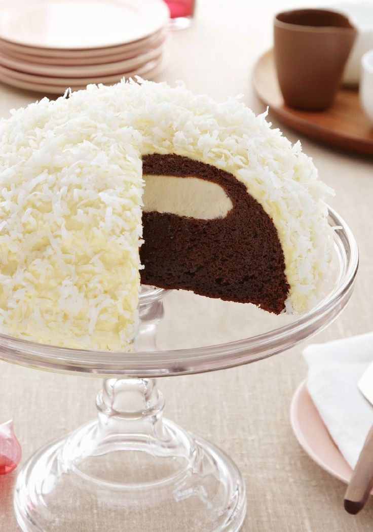Snowball Cake – A grown-up version of the classic lunchbox treat, this cake will bring back memories and bring up the question we all had as kids: how did the cream filling get in there?