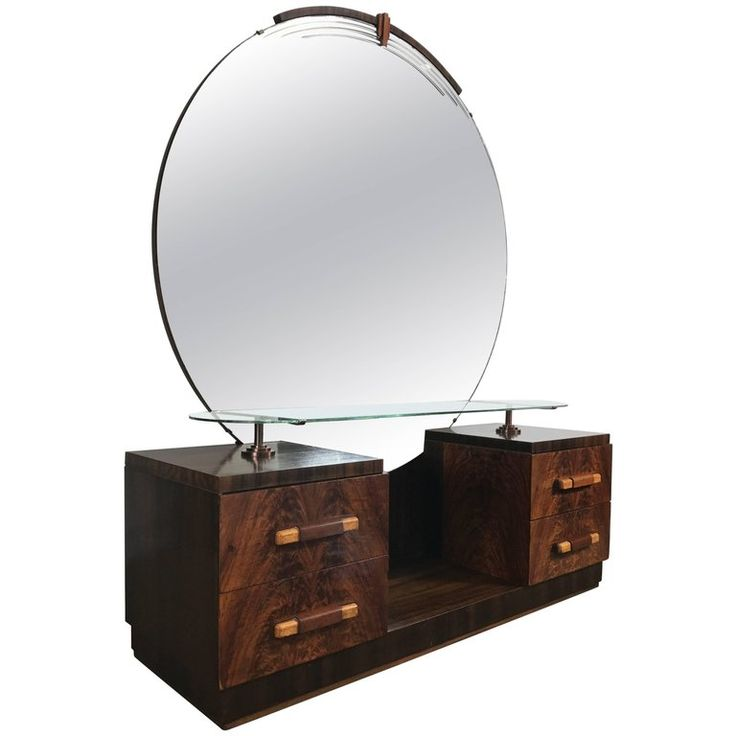 American Art Deco Vanity, Dressing Table, Mirror Manner of Donald Deskey | From a unique collection of antique and modern vanities at https://www.1stdibs.com/furniture/tables/vanities/