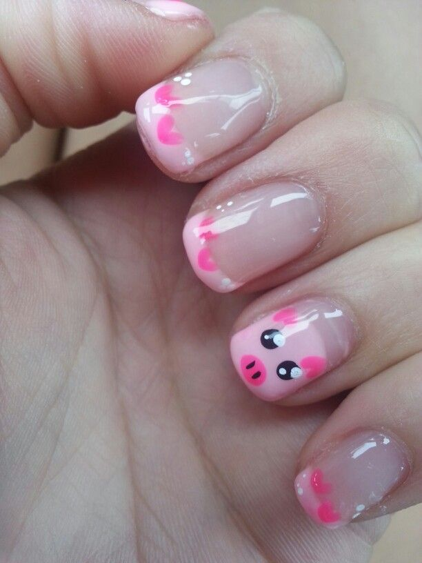 Pig Nails and pink french with gel manicure
