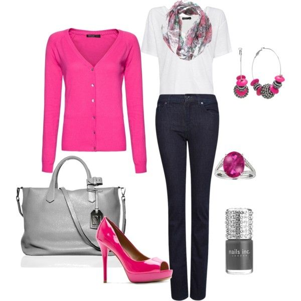 I love the pink, although I don't look good in it, but I get the gist of the look.  I'd break both my ankles in those shoes, but they sure are cute!