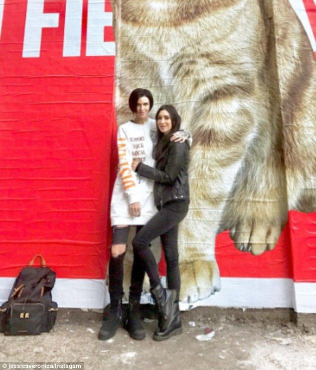 'Hi, I missed you':Jessica Origliasso (right) took to Instagram on Wednesday to share a photo with her girlfriend Ruby Rose (left) during their holiday in London