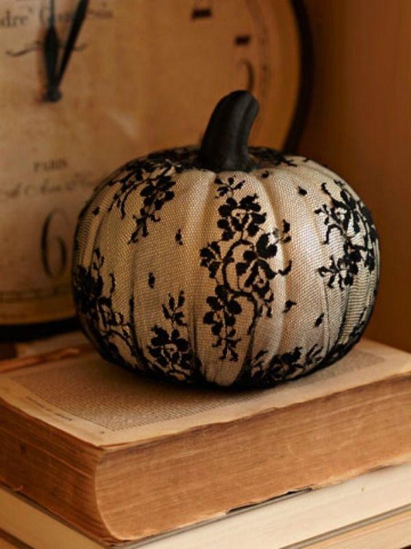 The Sexy Lace Pumpkin | 37 Easy DIY No-Carve Pumpkin Ideas