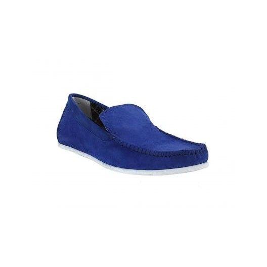Pánske kožené extravagantné mokasíny modrej farby - fashionday.eu