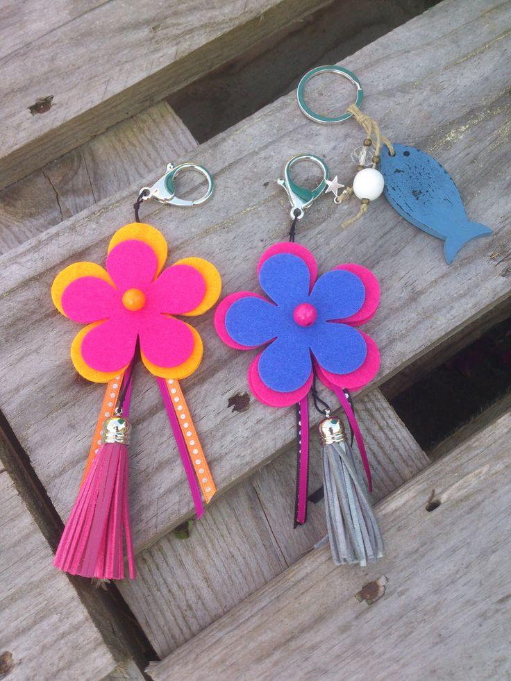 porte clef fleur, bijou de sac