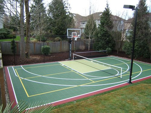 Backyard Sport Court Ideas saveemail I Need This Sport Court In My Own Backyardsomeday Pickleball Day Night If I Was Spoiled Pinterest Backyard Basketball Court And