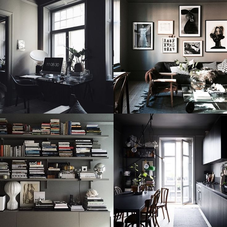 lotta agaton's apartment, dark scandinavian interior design