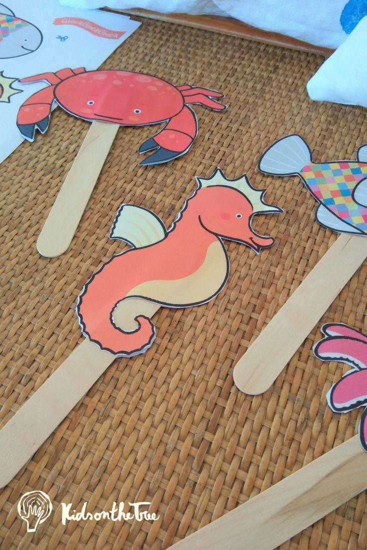 Attività creativa per bambini. Figure marine da ritagliare e incollare.