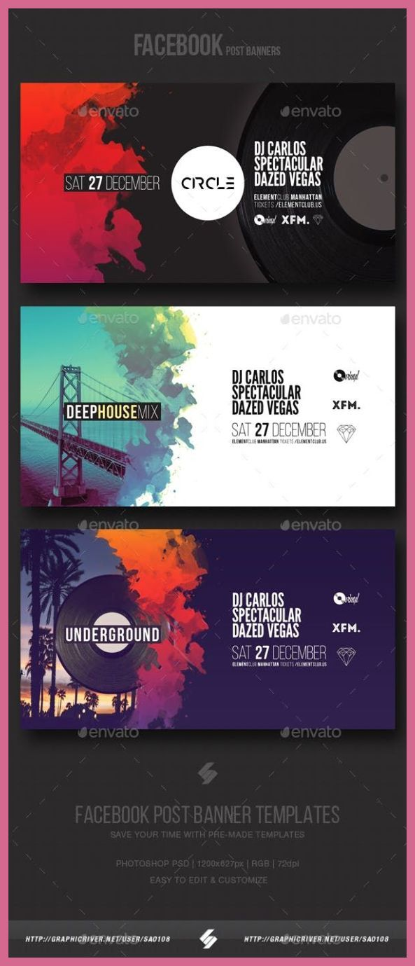 Web Banner Design Electronic Music Party Vol3 Facebook Post Banner Templates Social Me Banner Design Inspiration Website Banner Design Web Banner Design
