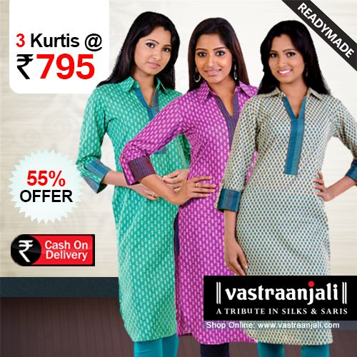 Casual Daily Wear Cotton Kurtis @ 55% Discount.  Printed Cotton Kurtis, features a spread collar , a curved hemline and contrast binding at the chest and the cuffs.  For more details and online shopping visit http://vastraanjali.com/Home/product_detail/Kurtis/Cotton-Kurtis/C01