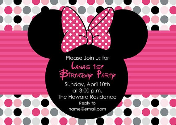 136 best images about Minnie Mouse Invitations – Minnie Mouse Party Invites