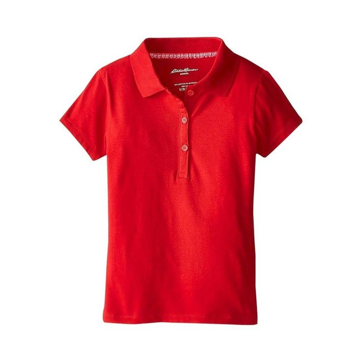 Eddie Bauer Girls' Stretch Knit Polo Red 10, Girl's, Size: 10-12