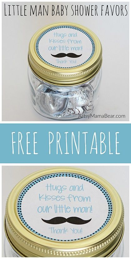 Little Man Baby Shower Favors + Free Mason Jar Printable! Maybe add to a paper tag and cute bag I place of mason jars