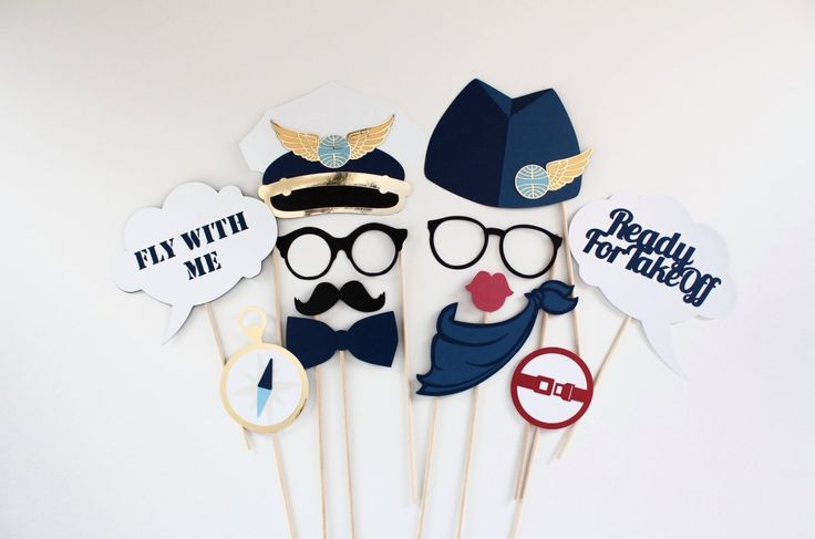 AIRPLANE, PILOT, AVIATION, PANAM INSPIRED Photo Booth Prop Set