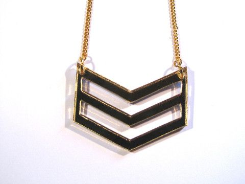 Gold Mirror Acrylic Chevron Necklace. Cool Chevron design pendant, fashioned from gorgeous gold mirrored 3mm laser-cut acrylic. On n approximately 41cm gold plated split curb chain.  #jewellery #necklace #pendant #chevron #gold #mirrored #acrylic