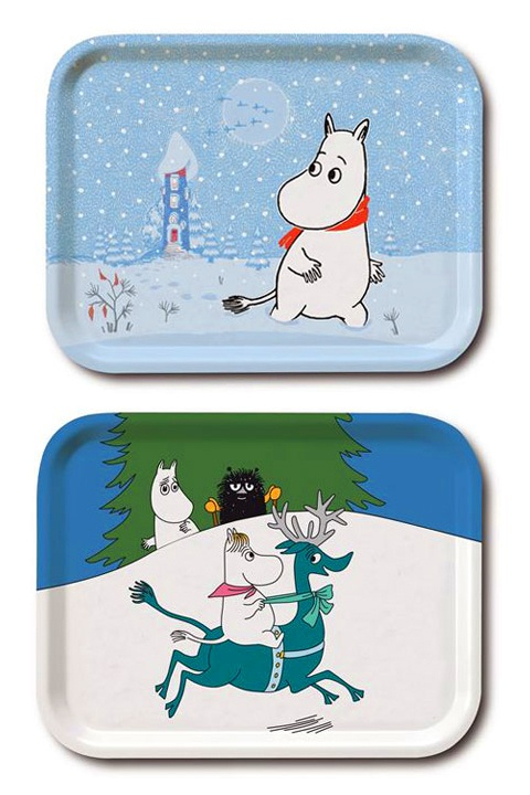 Tove Jansson Christmas-themed Moomin trays by Opto design.