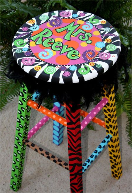 Super adorable jazzed up painted teacher stool! I love it! Must make!