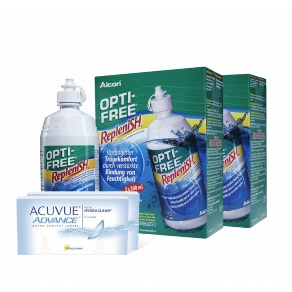 ZWEI ACUVUE ADVANCE 6ER PACK & VIER OPTIFREE REPLENISH