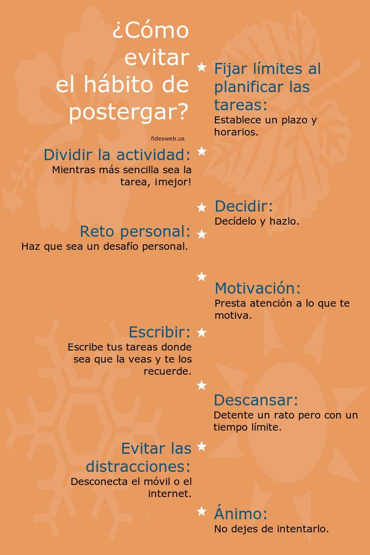 Procrastinar: significado, Procrastinación - Psicología, ¿Cómo evitar la procrastinación? La procrastinación es un aspecto ampliamente discutido en estudios de gerencia por sus repercusiones en la productividad