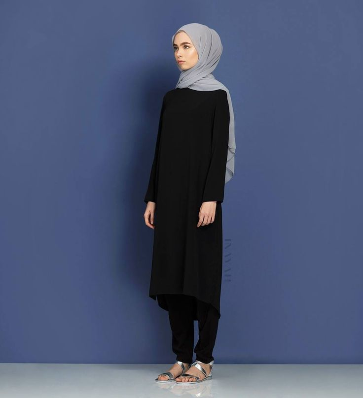 Timeless and staple classics in time-honoured shades. Available online and in-store: Black Crepe Midi #Dress + Black Crossover #Trousers + Feather Grey Silk Chiffon #Hijab - www.inayah.co