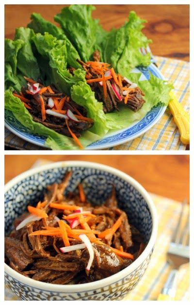 Slow Cooker Shredded Hoisin Beef Lettuce Wraps or Sliders from The Perfect Pantry; perfect for a #SummerDinner from the #SlowCooker! [Featured on SlowCookerFromScratch.com]