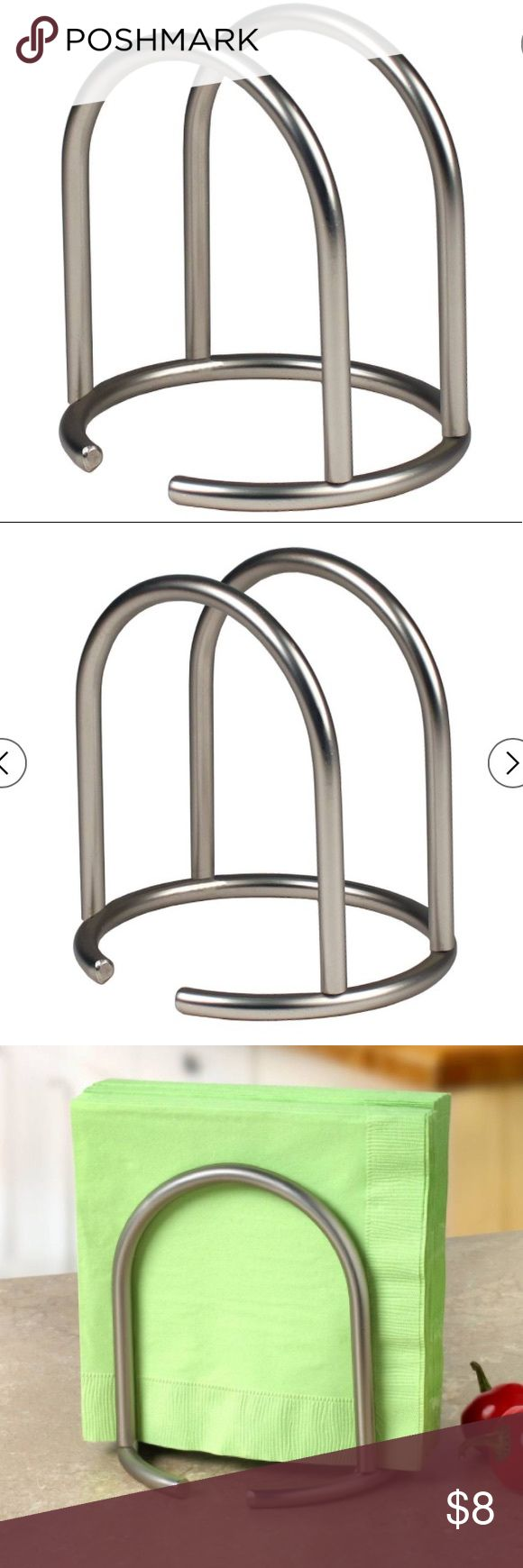 Retro Modern Napkin holder Sturdy steel construction, Satin Nickel Finish Designed to keep napkins dry and organized on kitchen tables, dimensions are 5.50D X 5.50W X 5.75H Euro Other