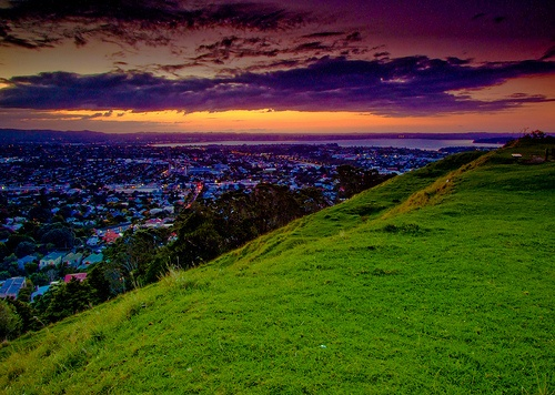 View of Auckland, NZ from the Mt Eden summit.