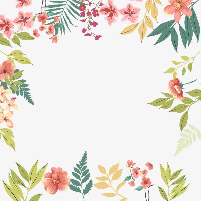 Green Leaves Flowers Border in 2020 | Free watercolor ...