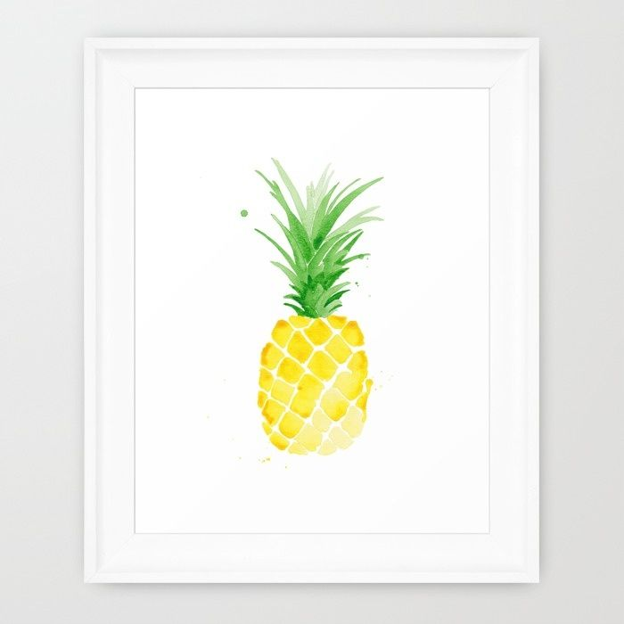 Piña - Yellow Framed Art Print by THE AESTATE | Society6