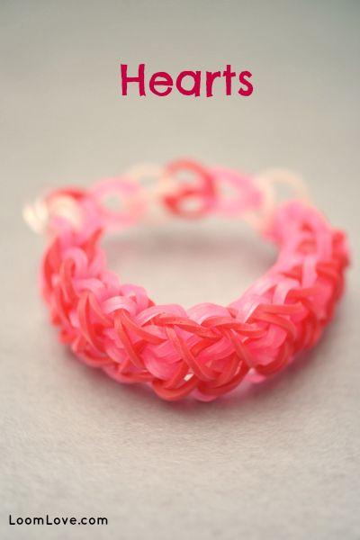 How to Make a Hearts Rainbow Loom Bracelet