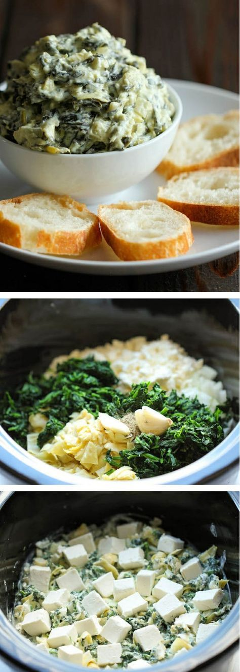 Slow Cooker Spinach and Artichoke Dip #appetizer #slowcooker #spinachandartichoke