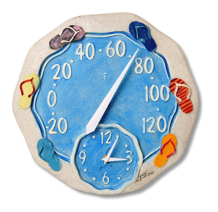 """12"""" Round Sandals Outdoor Clock and Thermometer - Leaders Casual Furniture"""