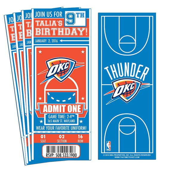 12 Oklahoma City Thunder Custom Birthday Party Ticket Invitations - Officially Licensed by NBA