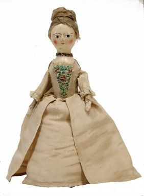 Lot: Queen Ann, wooden doll, England, around 1775 - 1780,, Lot Number: 0799, Starting Bid: €850, Auctioneer: Ladenburger Spielzeugauktion GmbH, Auction: Special Auction STEIFF & Collection C.Gräser, Date: September 3rd, 2016 JST