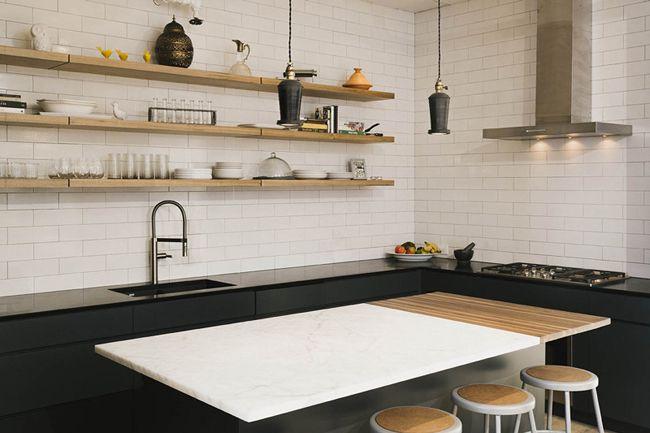 cuisine moderne granit noir et marbre blanc