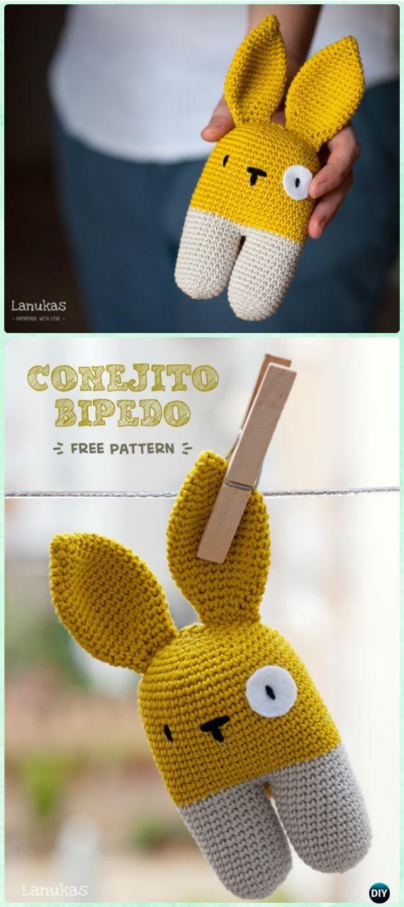 Crochet Two Legged Rattle Bunny Free Pattern - #Crochet Amigurumi Bunny Toy Free Patterns #Easter