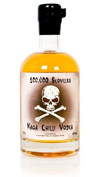 """100,000 Scovilles – Naga Chilli Vodka      Every party has one over-amped superstar who has to be """"that guy."""" The Naga Chili-infused vodka is the perfect remedy for silencing the party clown. The heat of peppers is measured using the Scoville scale. A jalapeño comes in at 3500-8000 and this vodka has 100,000. Offer him a shot. The bottle comes with warnings but whether you warn him or not is entirely up to you."""