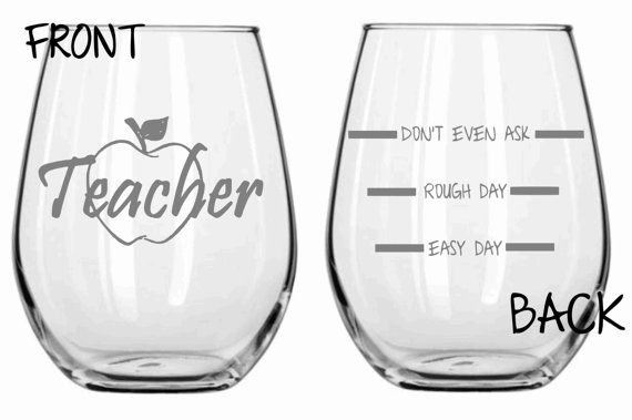 Etched Teacher Glass Set of 2 FUNNY Choose From Stemless Wine Glass, Wine Glass, Pilsner, Pub, Beer Mug, Rocks, Coffee Mug Personalized FREE...