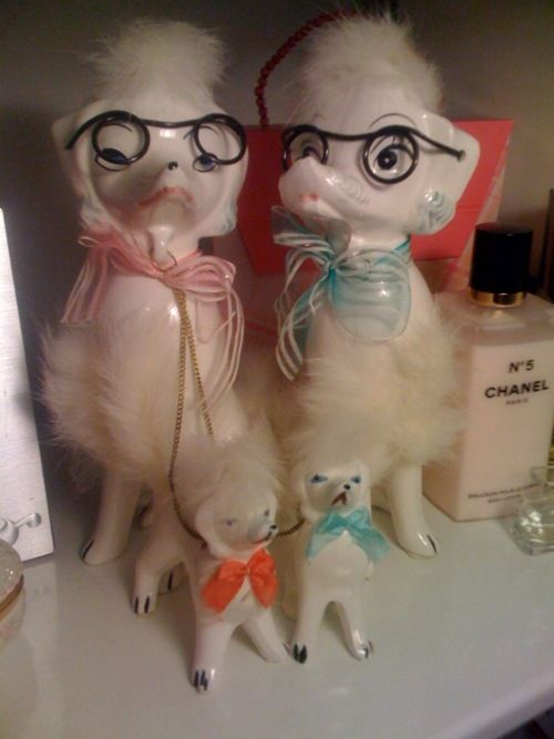 Vintage poodle family.  made in Japan, c. 1950's/60's.