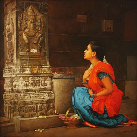 Tamil girl praying to Elephant God sculptures in Temple pillar - Painting by S.Elayaraja