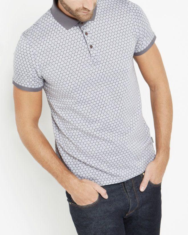Spot print polo shirt - Grey | Tops & T-shirts | Ted Baker SEU