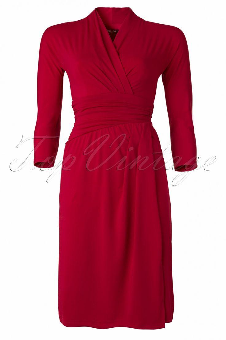 Amy - Miss Dita Faux Wrap Dress in Burgundy