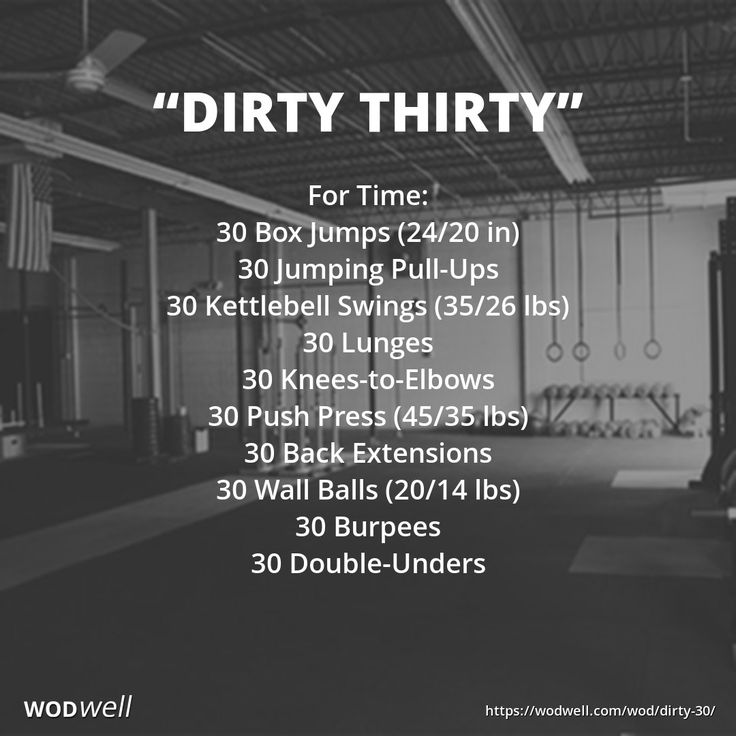 DIRTY THIRTY WOD: For Time: 30 Box Jumps (24/20 in); 30 Jumping Pull-Ups; 30 Kettlebell Swings (35/26 lbs); 30 Lunges; 30 Knees-to-Elbows; 30 Push Press (45/35 lbs); 30 Back Extensions; 30 Wall Balls (20/14 lbs); 30 Burpees; 30 Double-Unders
