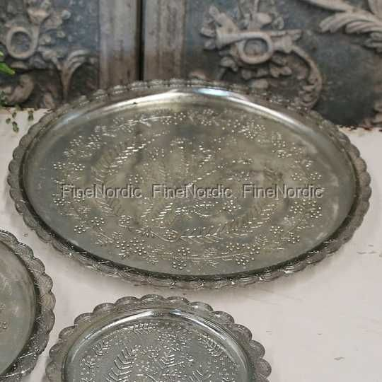 Chic Antique Fad med Mønster - Antik Sølv Ø 30 cm