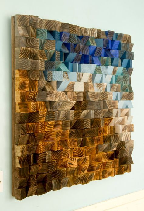 "Reclaimed Wood wall Art – Rustic Wood Art – wood sculpture, ""Fighting River"", aqua, blue, beach house"